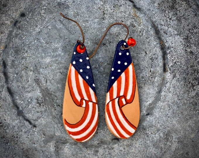 Handmade leather jewelry, earrings, American flag western cowgirl chic jewelry, retro boho western fashion, patriotic earrings, handmade