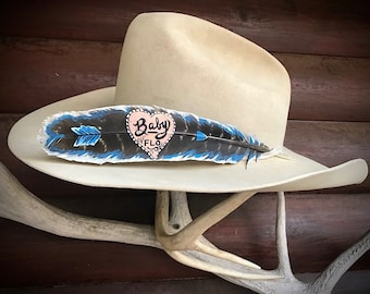 Custom hat feather, cowgirl bling feather, Honor the great horse that makes you a great Cowgirl,