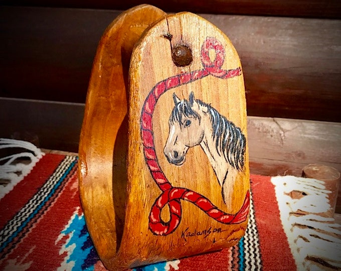Vintage wood stirrup, hand painted old western saddle stirrup, buckskin horse and lariat rope, western decor, rustic home decor, ranch decor