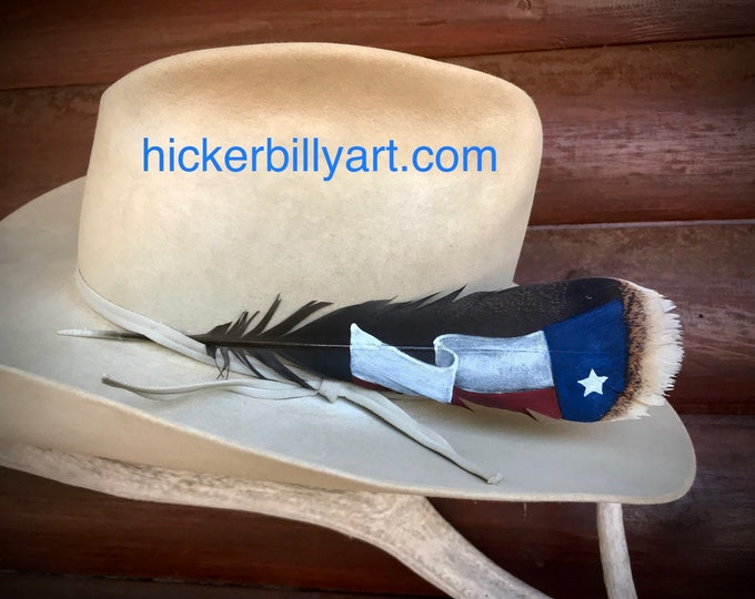 Texas flag cowboy hat feather, custom hat feather hand painted Texas flag on a small rio grande wild turkey tail feather, cowboy or cowgirl