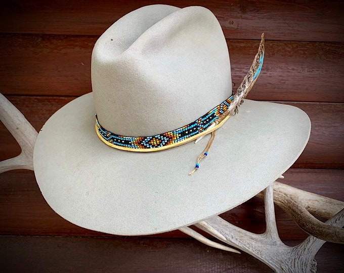 Vintage felt hat, Kays Ranchland, San Jose, Los Altos California, beaded,leather hat band, hat feather, boho hippie hat, vintage custom hat