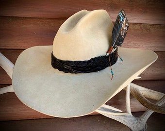 Black leather western hat band, Special combo, order hat band only or add hat feather at a special combo price, carved leather, cowboy retro
