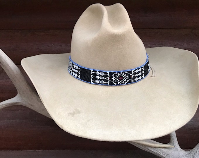 Custom hat band, Medicine eye design, handmade beaded hat band 1 inch, black, white, blue, retro western cowboy hat band, beaded artwork