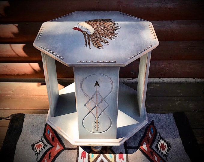 Vintage end table, repurposed custom painted lite distressed gray with full Indian native head dress, and rustic arrows, rustic night stand