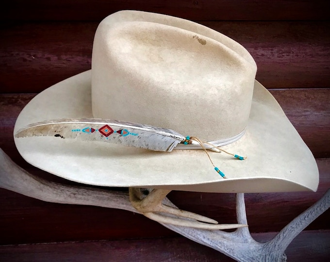 One of a kind custom hat feather, native style, rare uncommon jake blade, natural wild turkey feather, hand painted, turquoise, rust, red