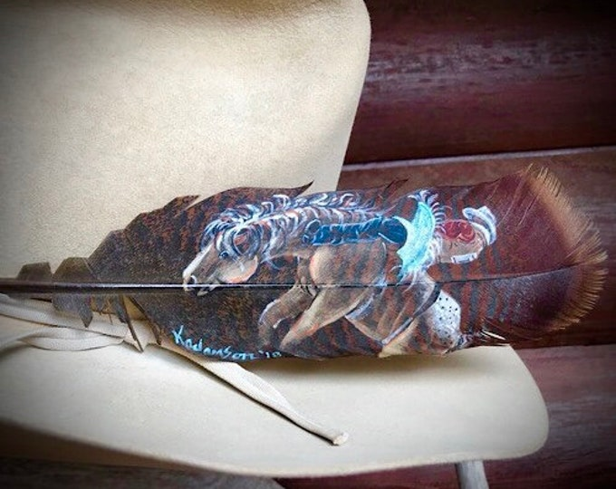 Special Edition hat feather, bareback bronc rider, rodeo hat feather hand painted on a wild turkey pre-tail feather, custom hat feather art