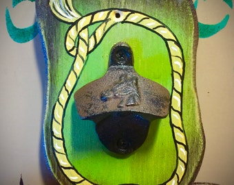 Western, bottle opener, rustic iron bottle opener with horse head embossed, hand painted back board, rustic lime green and rope accent
