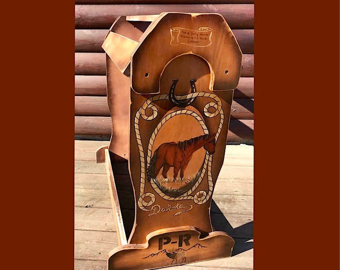 Custom, personalized, saddle stand, standing horse, brand and inscription