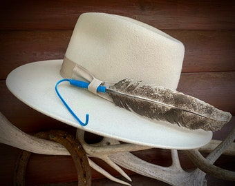 Rare hat Feather, leather wrapped coup style feather, faded turkey wing, western boho, boho hippie fashion, Feather ONLY Hat NOT included