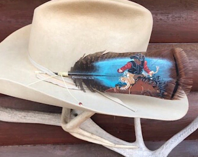 Custom hat feathers hand painted from your photos, rough stock rodeo events, saddle bronc, bull riding, bareback riders, western retro art