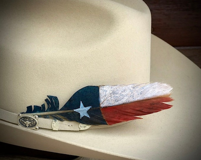 Custom ultra mini hat feather, Texas flag, western hat feather, red, white, blue, star, Texas star, American cowboy hat feather, feather art