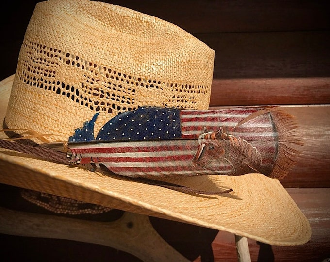 American made hat feather with horse head, hand painted smaller wild turkey pre-tail feather, custom pained feathers
