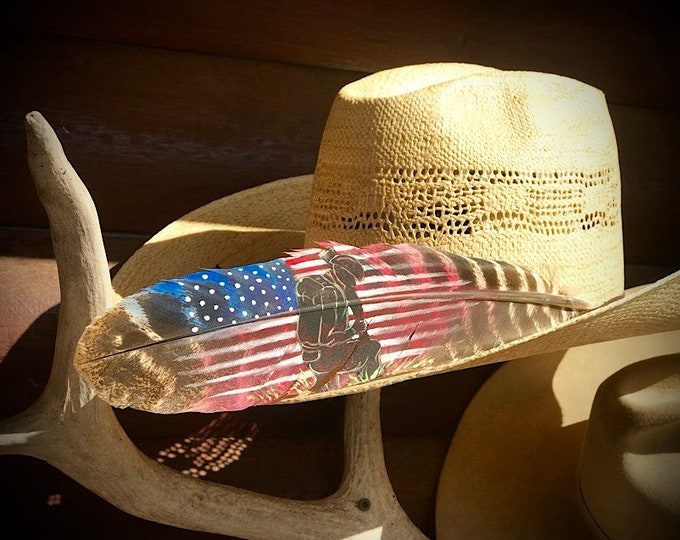 American patriot hat feather, In honor of our soldiers, Patriotic Americans hat feather, turkey feather painted patriotic red, white, blue