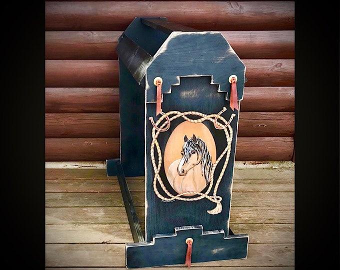 Custom saddle stand, rustic black finish, buckskin horse, brass leather tied conchos, saddle display, saddle stands, saddle rack, handmade