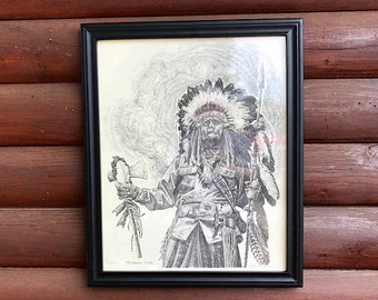 Vintage pencil drawing art, Limited edition Print number 34/500 1993 Rick Barkdoll,southwest decor Indian Chief wall art, double signature,