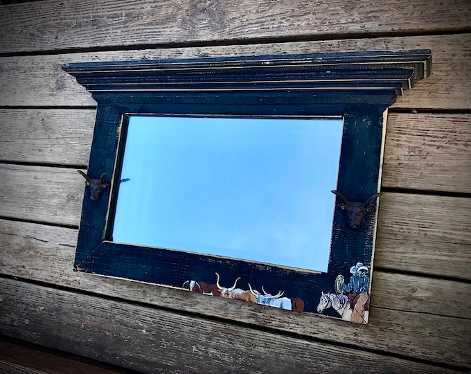 Rustic western mirror, beveled mirror with custom hand painted rustic western frame, shelf, cowboy on horse, cattle drive, longhorns cattle