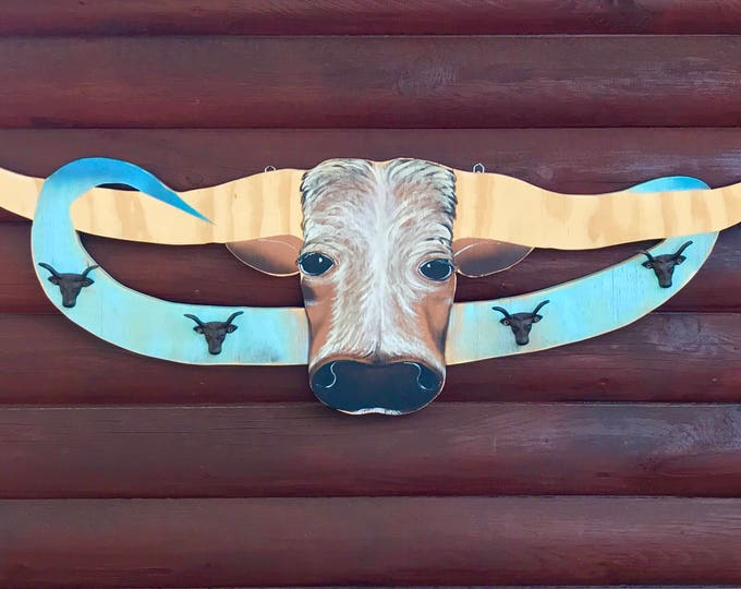 Rustic, western decor, steer head coat rack, hat rack, bridle or cowboy display, Fathers day gift, cowboy decor, 4 iron steer head hangers
