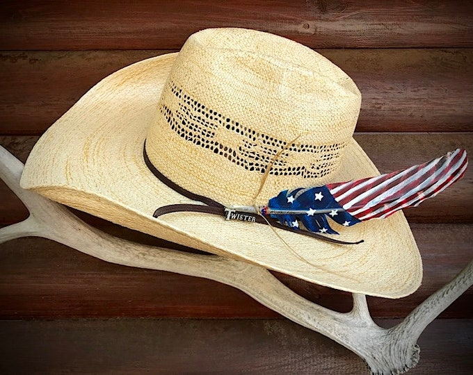 American made hat feather, custom painted patriotic turkey feather, Right or left side hat feather, with sinew wind tie and beaded accents