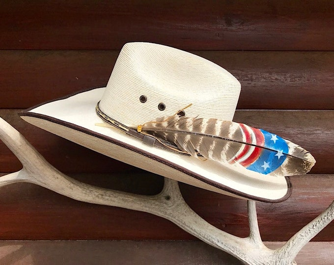American made hat feather, custom hat feather in red, white, blue stars and stripes, American hat feather, rodeo, bull riding, bull rider,
