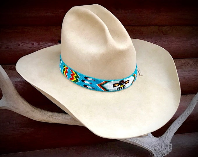Beaded hat band, Thunderbird turquoise western retro hat band, feather accents, cowboy or cowgirl hat accessories, western fashion, native