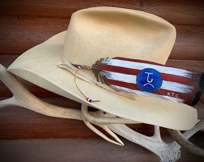 New Patriotic Rancher custom hat feather, hand painted on pre tail turkey feather, brand and initials or name can be added, western retro