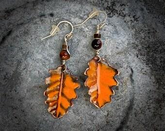Copper enameled Earrings, Rustic Copper enameled leaf, tiger eye stone bead and sterling silver earwire, handmade in USA, custom jewelry art