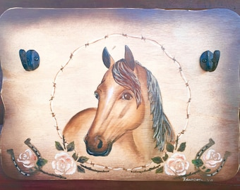 Western decor, hand painted coat or hat rack, western art, rustic painted horse with barbwire,roses, horse shoe accent