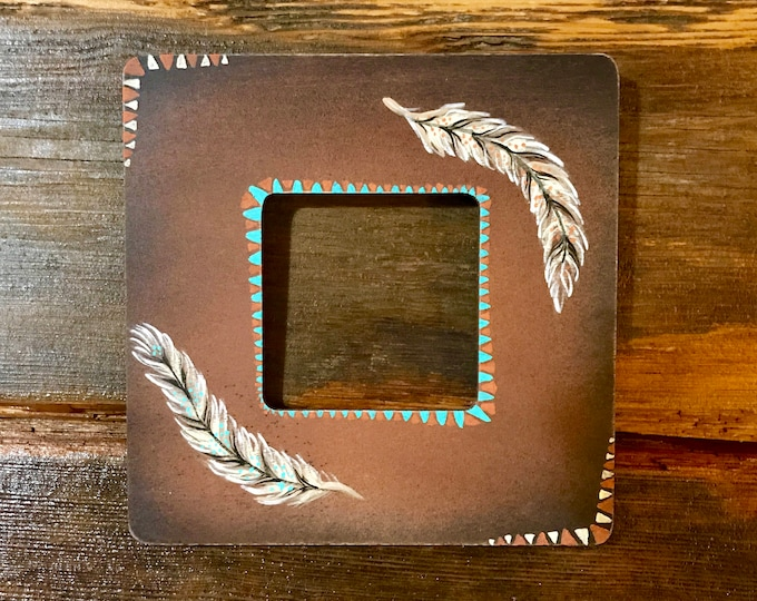 Rustic wood frame,small hand painted frame in antiqued brown with feather art and tribal design,boho style,tribal art,western art, southwest