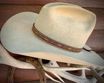 """Leather HAT BAND, choose light or dark brown finish, 5/8"""" wide tooled leather hat band, Hat NOT included, western hat accessory, boho hippie"""