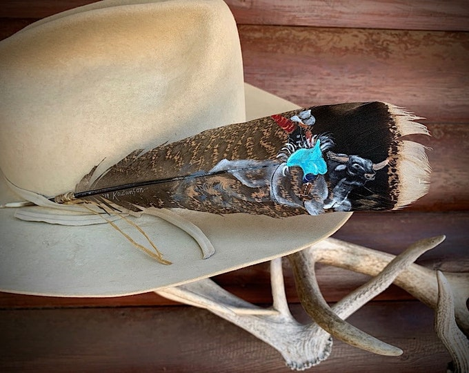 Custom hat feather, bull rider cowboy hat feather, bucking bull and rider painting, can be personalized your name or brand, western retro