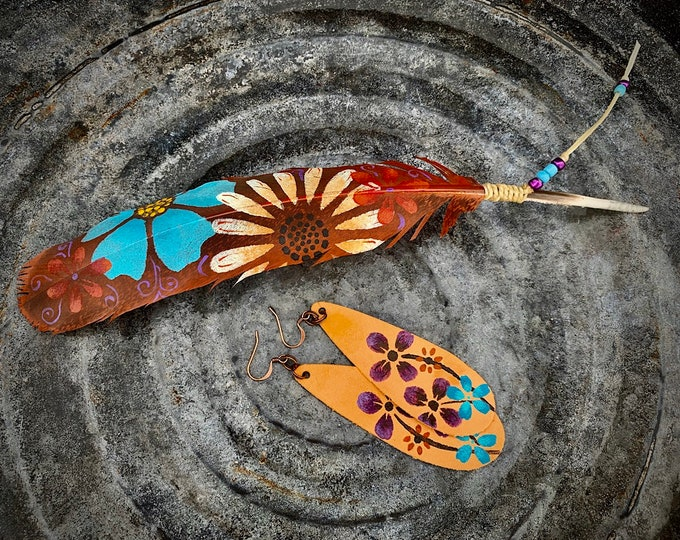 Custom Jewelry, Leather earrings and Hat Feather sets, hand painted flowers on leather earring set, boho hippie, western retro, cowgirl chic