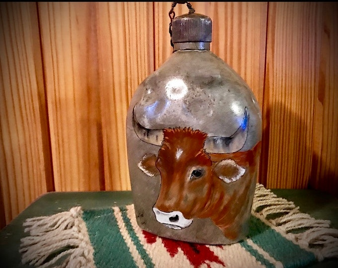 Antique combat canteen, world war I era , metal canteen, hand painted steer head, rustic home decor, western decor, farmhouse decor, art