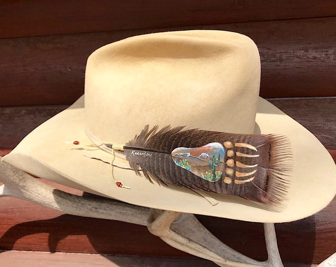 Custom hat feather, hand painted wild turkey pre-tail bronze feather, southwest mountain high desert scene in native bear paw, cactus art
