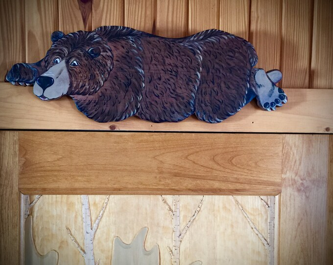 Bear art, door or window treatment, rustic cabin decor, lake home decor, western, wood bear, character bear, rustic, cabin, log home decor,