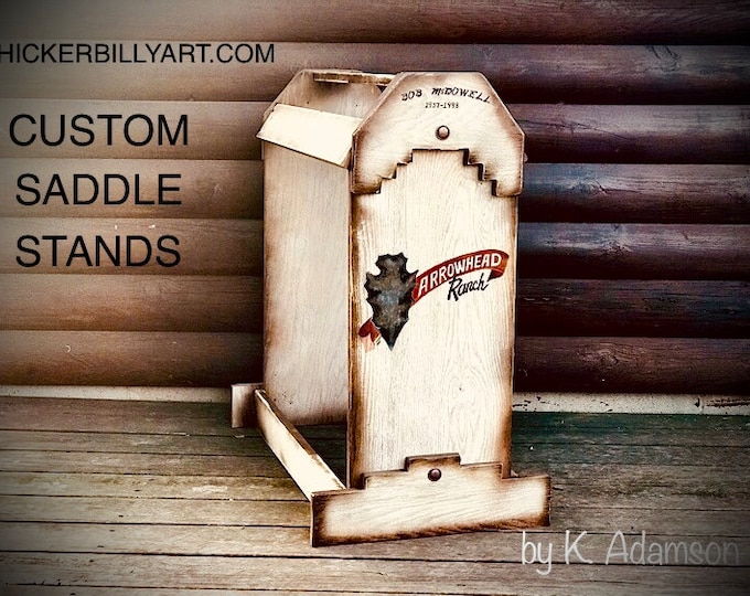 Custom wood saddle stand, personalized rustic handmade, custom painted and designed by Kathy Adamson, saddle storage, trophy saddle display