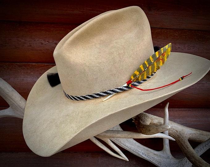 Custom hat feather, Zuni symbol, New Mexico mini size painted turkey feather, barred leaf, western retro fashion, cowboy or cowgirl, yellow