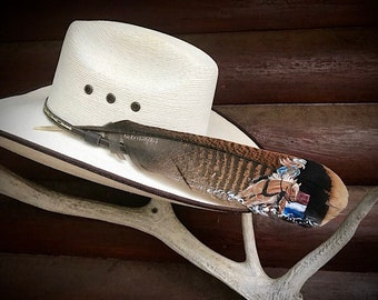 Custom hat feathers, barrel racer, cowgirl hat feather, hand painted barrel racing horse, personalized,  painted western hat feather, rodeo