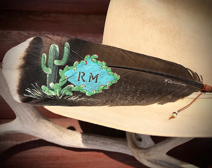 Southwest cactus, retro cowgirl, cowboy hat feathers, personalized with your choice initials or brand, western retro, vintage fashion, rodeo