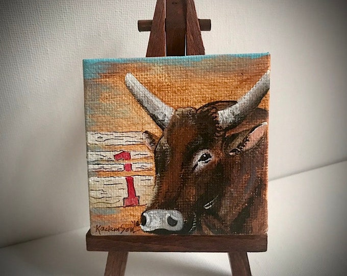 Miniature canvas painting, bucking bull , Mossy oak Mudslinger, original acrylic painting, western decor, mini canvas art with wood easel