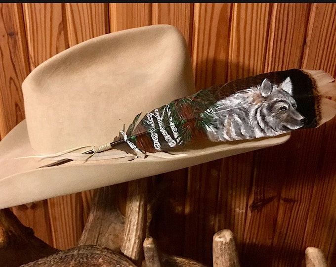 Custom hat feathers hand painted on wild turkey wing feather, wolf head with aspens and pines, wildlife painting, western hat, mountain man