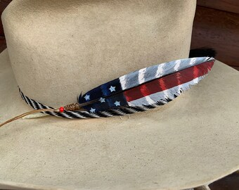 Mini size hat feather, flag feather, American hat feather, choice of flag style, patriotic western  symbol, red, white, blue, stars, stripes