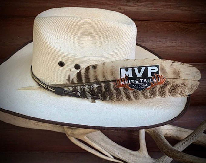 Custom Logo Hat Feathers, custom designed using your logo, western retro hat feather, choice of feather style, hand painted by Kathy Adamson