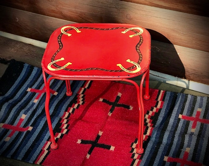 Western decor, childrens stool, time out bench, foot stool, step stool, little red metal stool hand painted in a distressed red, horseshoes