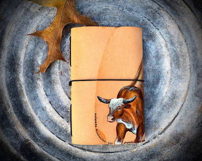 Leather journal, journal cover hand painted rodeo bucking bull, western journal, leather notebook, 4 x 6 manuscript style notebook cover