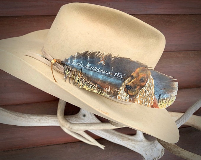 Pet portrait hand painted on turkey feather hat feather or wall art display, custom hat feather original artwork by Kathy Adamson, western