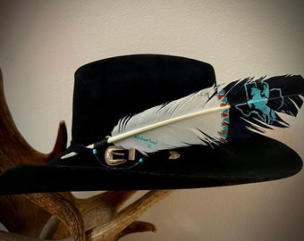 Texas western hat feather, cowboy hat feather on faux painted eagle feather, black and white, turquoise, cowboy, Texas proud hat accessory