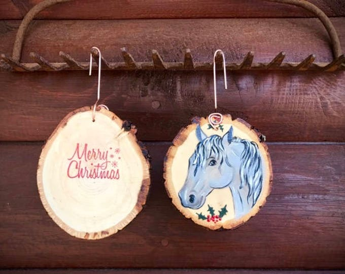 Christmas ornament, western handmade custom ornament, hand painted western horse