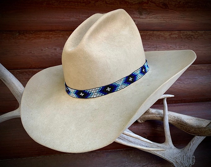 Beaded hat band, stretch elastic style beaded hat band one size fits all, western hat, boho hippie, gypsy hat, western retro fashion, cowboy