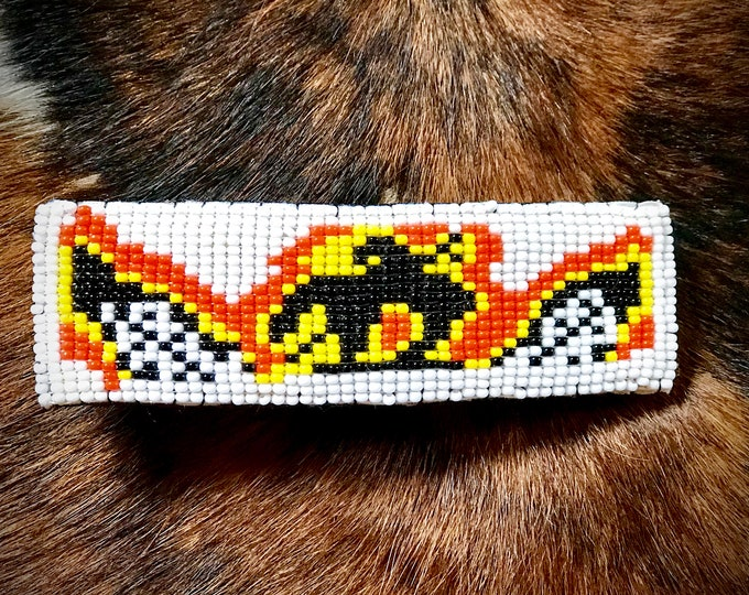 Beaded hair barrette, end of trail native style hair barrette, western hair accessories, cowgirl hair barrette, end of trails and feathers