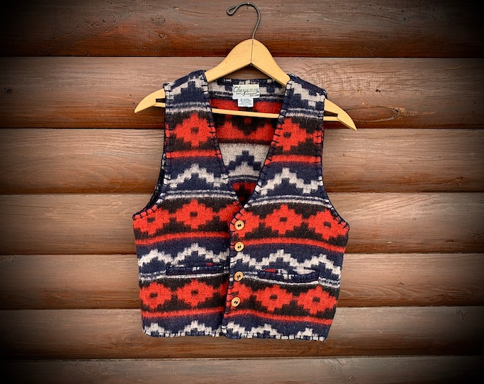 Vintage wool vest, womens small, Cheyenne Autumn, western retro fashion, southwestern fashion, wool blend, boho western, Pendleton style